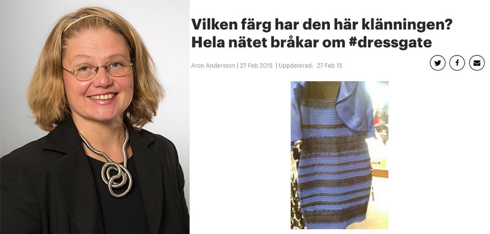 Bodil Karlsson, Göteborgs universitet, forskar om perception (Foto: Göran Olofsson) och klänningen som blev viral 2015 och blev startskottet för Bodil Karlssons forskning.